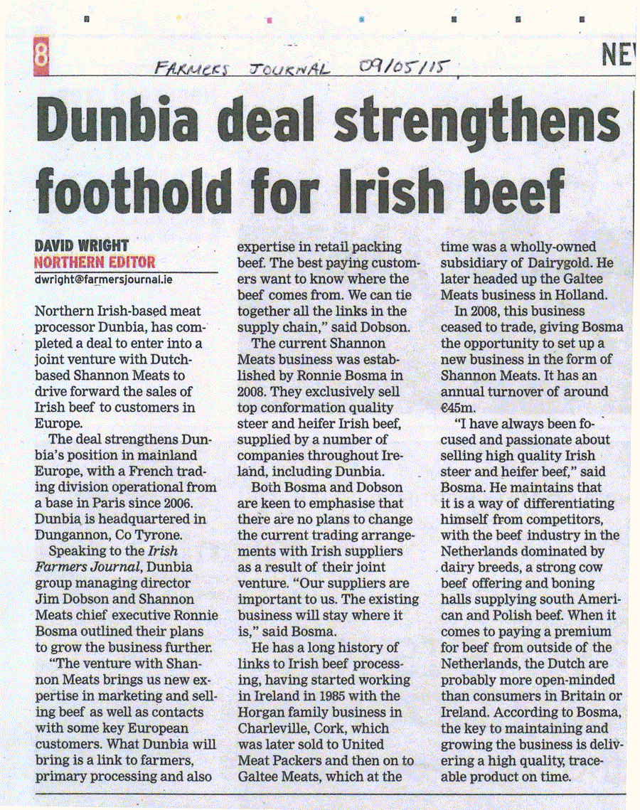 Dunbia deal strengthens foothold for Irish Beef
